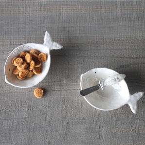 Ceramic Fish Bowl and Spreader