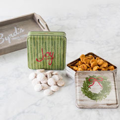 Holiday 2 Tin Gift Tray Tins - Joy & Wreath