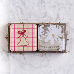 Holiday 2 Tin Gift Tray - Bell & Gardenia