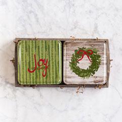 Holiday 2 Tin Gift Tray - Joy & Wreath