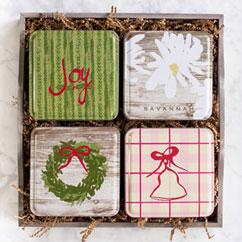 Holiday 4 Tin Gift Tray