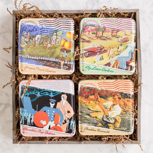 Travel Postcard 4-tin set in Gift Tray