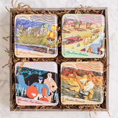 Travel Postcard 4-tin set in Gift Tray